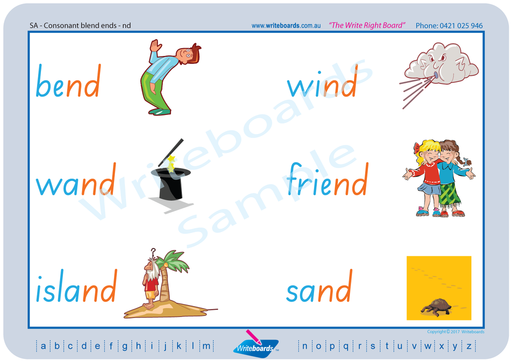 SA Modern Cursive Font Phonic Worksheets created by Writeboards