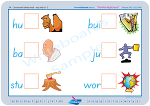 SA Modern Cursive Font Phonic Consonant Blends worksheets and posters. SA handwriting.