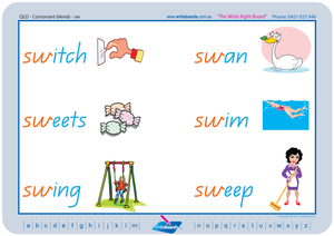 QLD Modern Cursive Font Phonic Consonant Blends worksheets and Posters