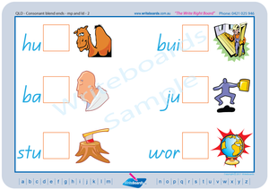 QLD Modern Cursive Font Phonic Consonant Blends worksheets and templates. Writeboards.