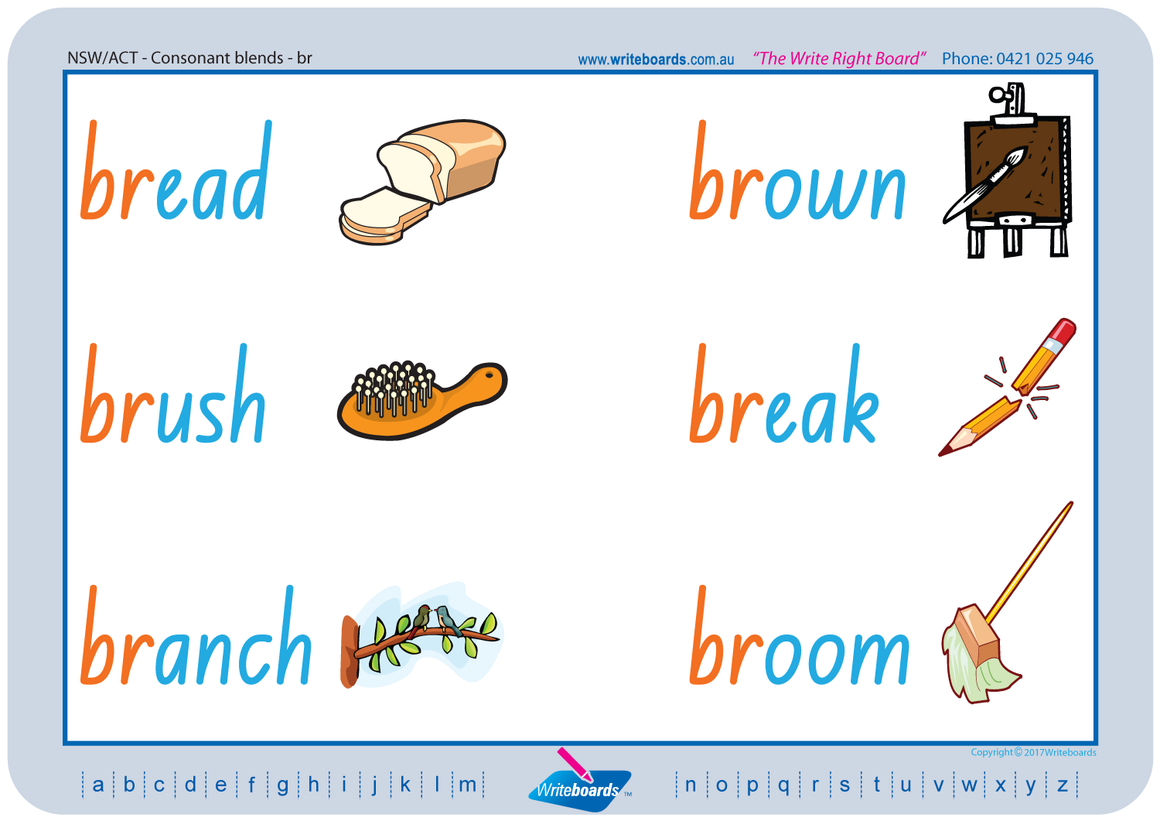 NSW Foundation Font Colour Coded Phonic Consonant Blends Worksheets for Teachers, NSW and ACT Teaching Resources