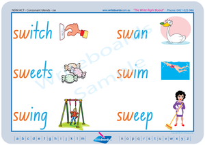 NSW and ACT Childcare Resources, NSW Foundation Font Colour Coded Phonic Consonant Blends Worksheets and Flashcards