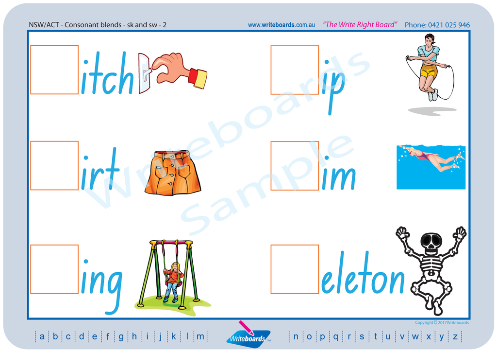 NSW Foundation Font Colour Coded Phonic Consonant Blends Worksheets, Poster and Flashcards.