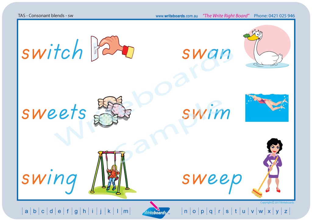TAS Beginner Font Phonic Consonant Blends worksheets and templates.