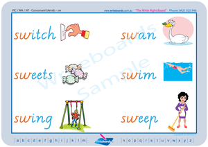 VIC Modern Cursive Font Phonic Consonant Blends worksheets and posters.