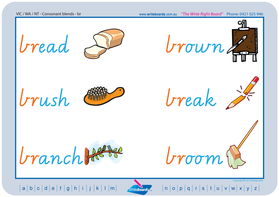 VIC Modern Cursive Font Phonic Consonant Blends worksheets and posters. VIC, NT and WA handwriting.