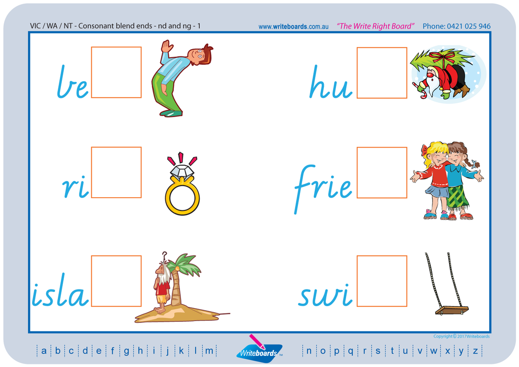 VIC Modern Cursive Font Colour Coded Phonic Consonant Blends Worksheets, Poster and Flashcards.