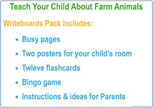 Busy Book Farm Animal Pack  includes posters, flashcards, bingo games, and busy pages
