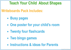 Busy Book Shapes Package includes Busy Pages, a Poster, Flashcards & Games