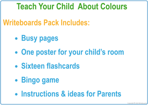 Umbrella Busy Book Color Pack includes a poster, flashcards, busy pages, & a bingo game