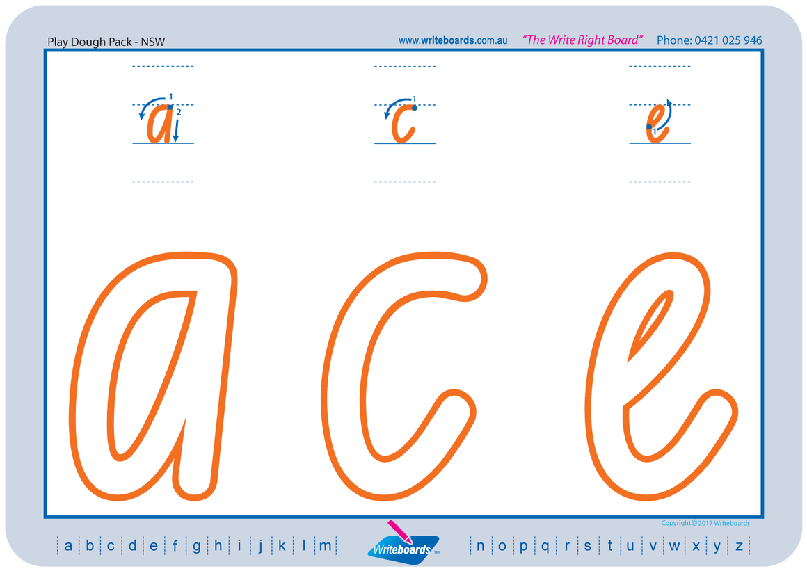NSW Foundation Font Large Alphabet and Number Worksheets for Occupational Therapists and Tutors