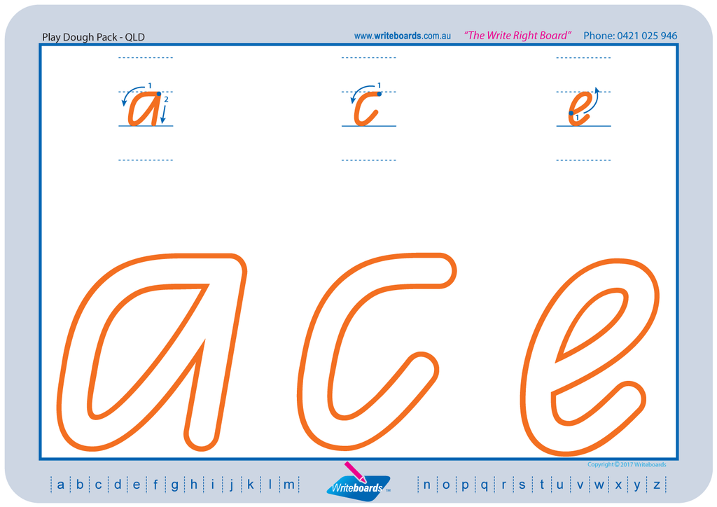 QLD Modern Cursive Font numeracy and literacy handwriting worksheets. Large letters and numbers.