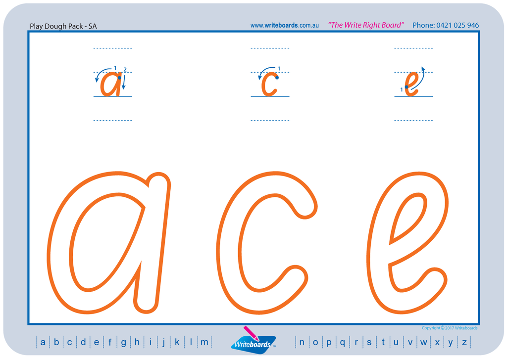 SA Modern Cursive Font numeracy and literacy handwriting worksheets. Large letters and numbers.