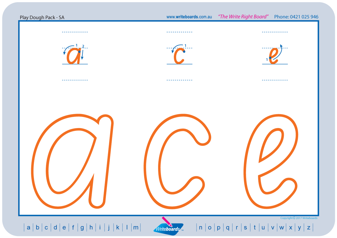 SA Modern Cursive Font learn to form the alphabet worksheets created by Writeboards