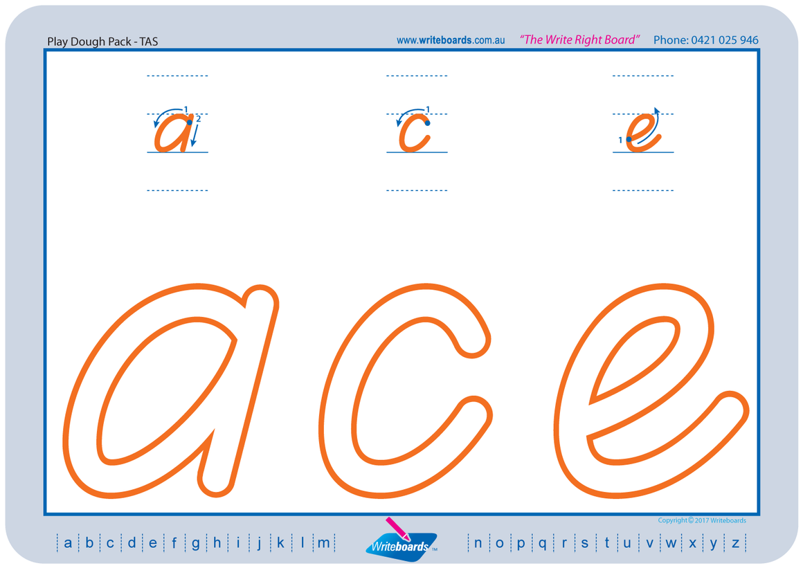 TAS Beginner Font learn to form the alphabet worksheets created by Writeboards