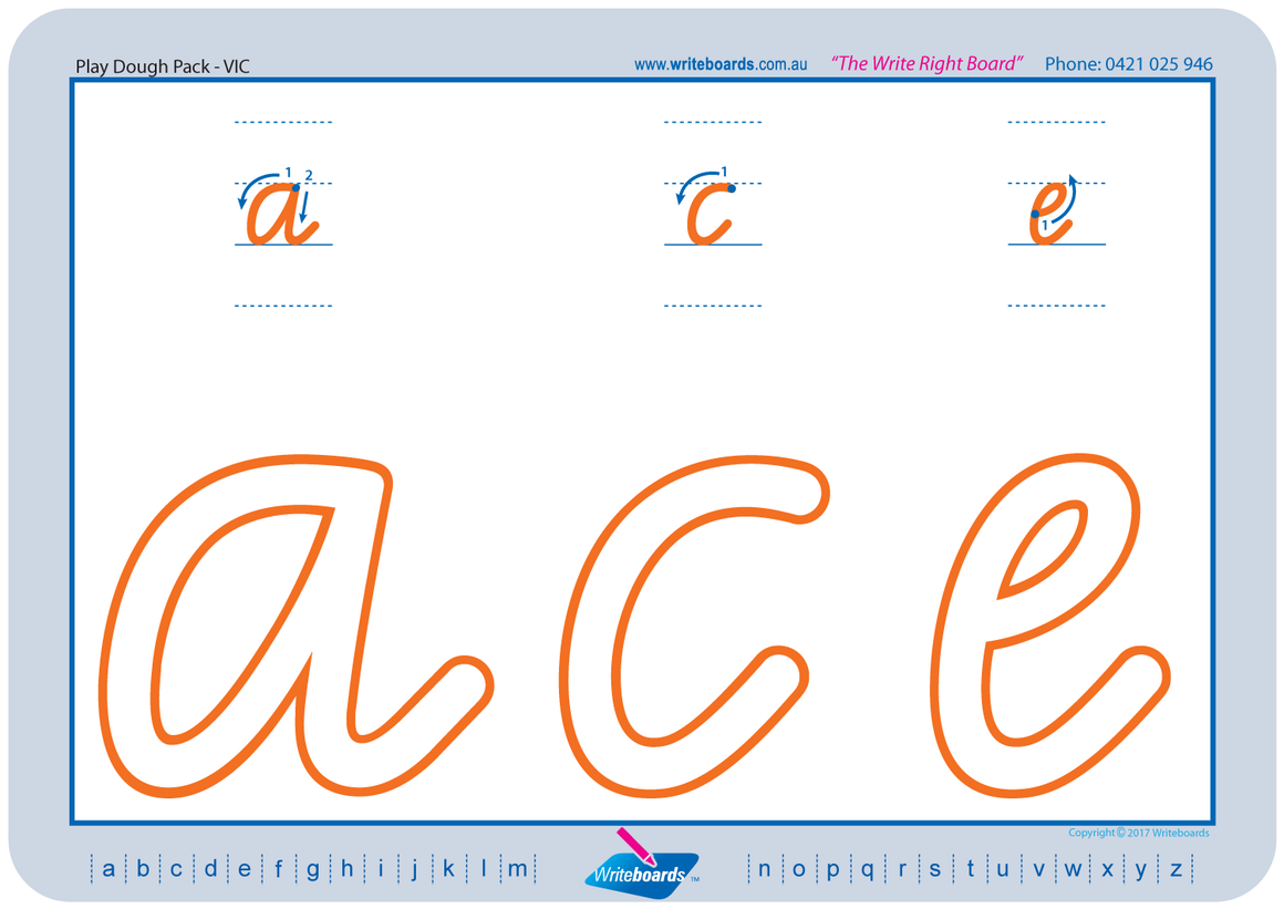 VIC Modern Cursive Font learn to form the alphabet worksheets created by Writeboards