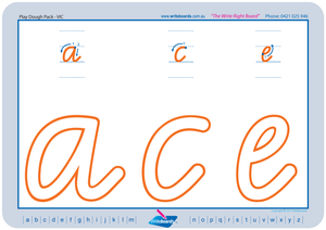 VIC Modern Cursive Font Lowercase Alphabet Worksheets for Childcare and Kindergarten