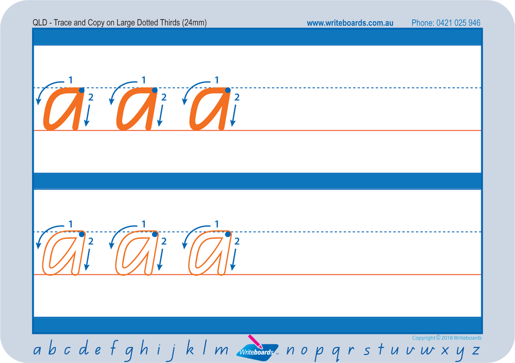 QLD Modern Cursive Font Dotted Third Letter Worksheets. QCursive dotted third school resources.