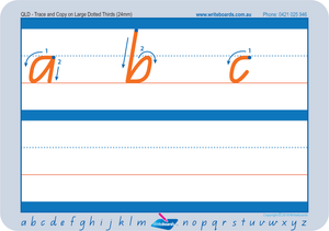 QLD Modern Cursive Font large Dotted Third Letter Worksheets, QLD handwriting worksheets