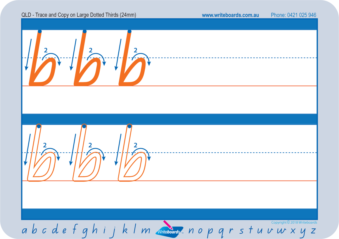 Large lowercase dotted third letter worksheets using QLD Modern Cursive Font for Occupational Therapists and Tutors