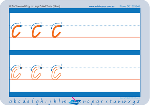 Learn to Form QLD Modern Cursive Font Letters using Dotted Thirds Worksheets. QLD handwriting worksheets.