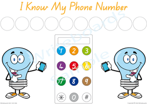 Free Phone Number Poster comes with our I Know My Phone Number Pack, QLD Handwriting