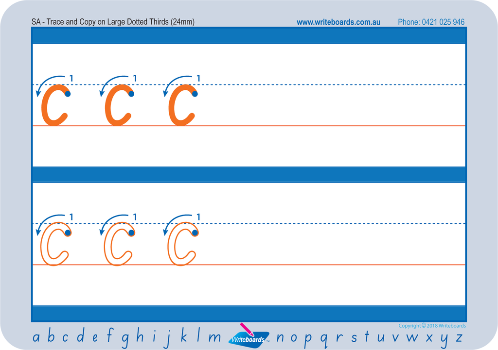 SA Modern Cursive Font Dotted Third Letter Worksheets. SA Modern Cursive Font dotted third school resources.