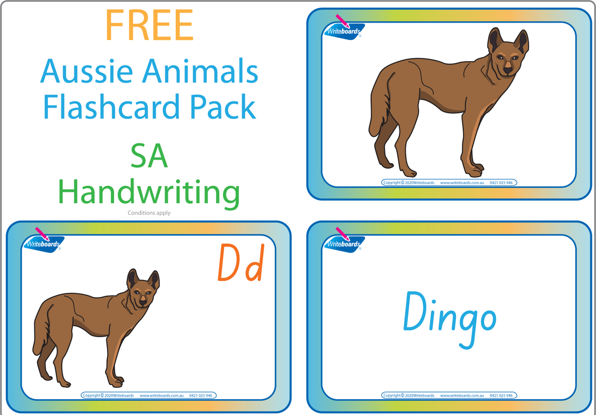 Free Australian Animal Alphabet Flashcards for SA Handwriting, Free SA Aussie Animal Alphabet Flashcards