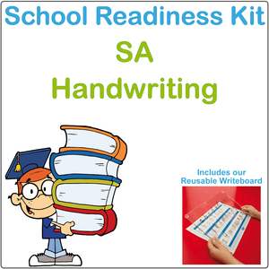 SA School Readiness Kit completed using SA Beginners Alphabet (also known as SA Modern Cursive Font)