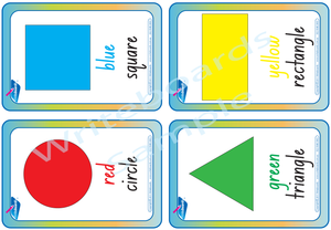 Shape and colour worksheets and flashcards completed using NSW Foundation Font used in NSW and ACT