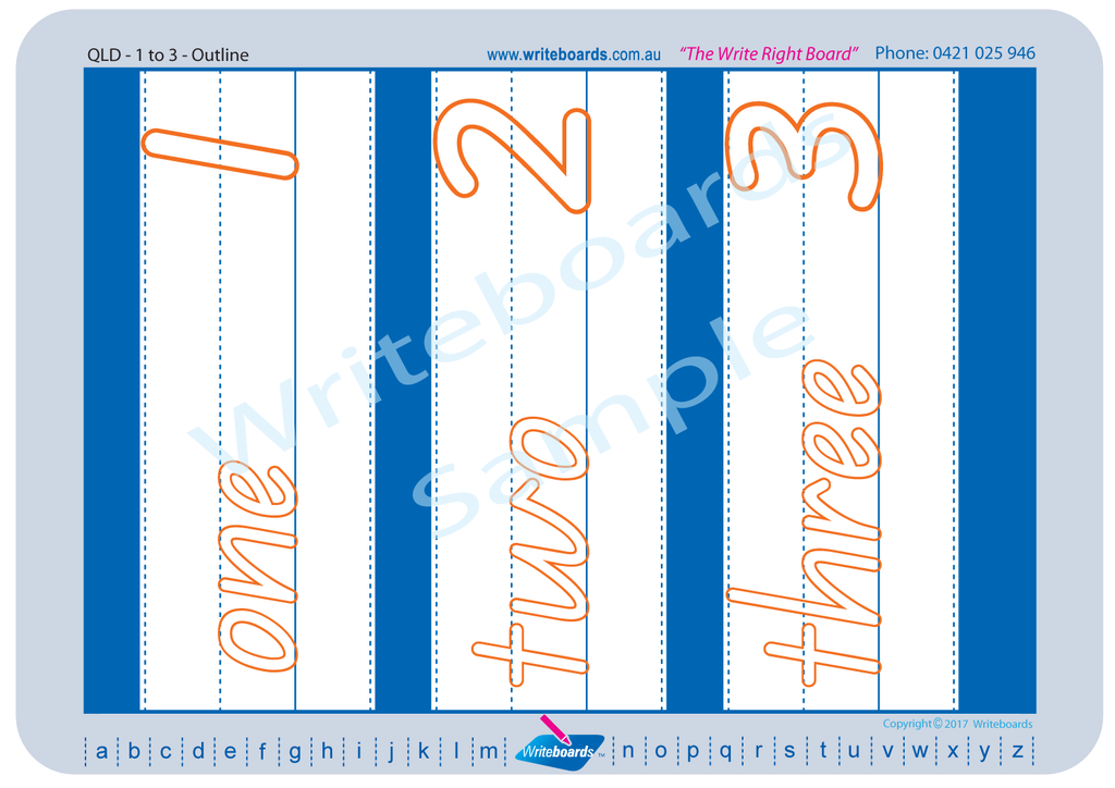 Downloadable and Printable QLD Modern Cursive Font number Worksheets for Teachers and Schools.