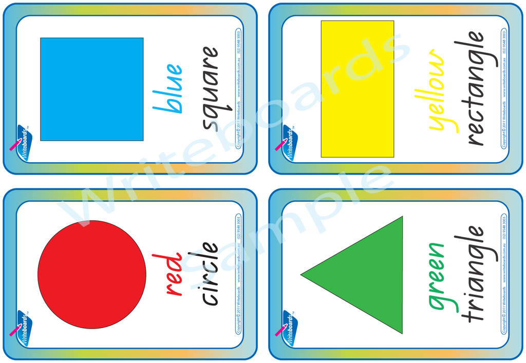 Printable QLD Modern Cursive Font Shape and Colour Flashcards for Teachers and Schools.