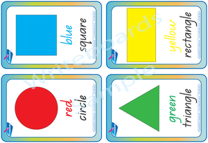 Special Needs QLD Modern Cursive Font shape and colour flashcards