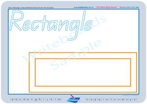 Special Needs QLD Modern Cursive Font shape and colour worksheets and flashcards