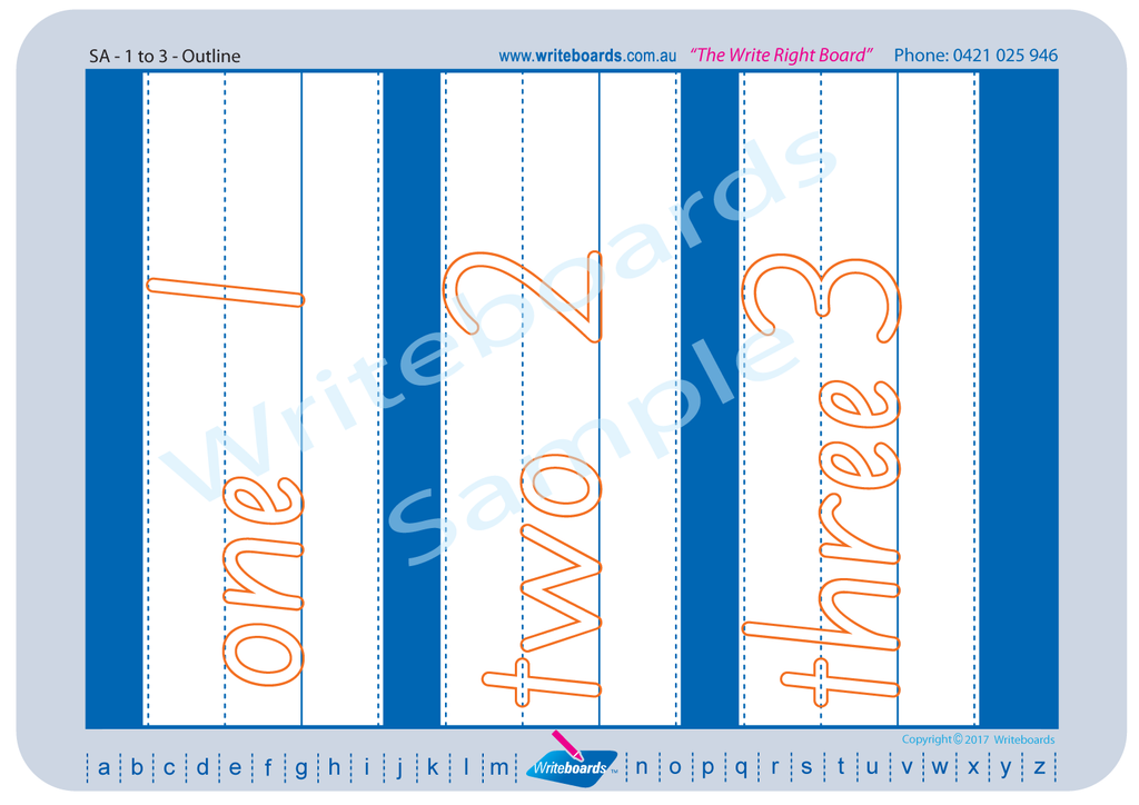 Downloadable and Printable SA Modern Cursive Font number Worksheets for Teachers and Schools.