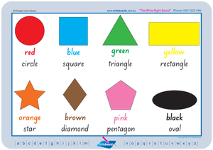 Printable SA Modern Cursive Font Shape and Colour Worksheets for Teachers and Schools.