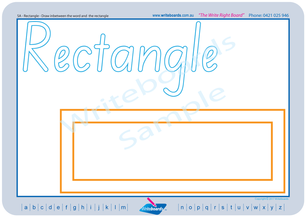 SA Modern Cursive Font - Learn about shapes and colour worksheets created by Writeboards