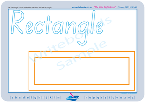 SA Modern Cursive Font shape and colour worksheets and Flashcards. SA handwriting worksheets.