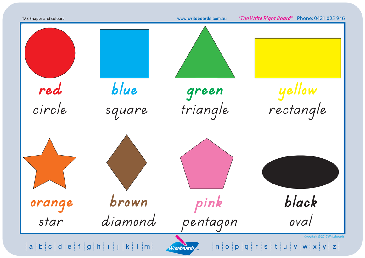 TAS Modern Cursive Font shape & colour worksheets and flashcards, teach your child shapes and colours