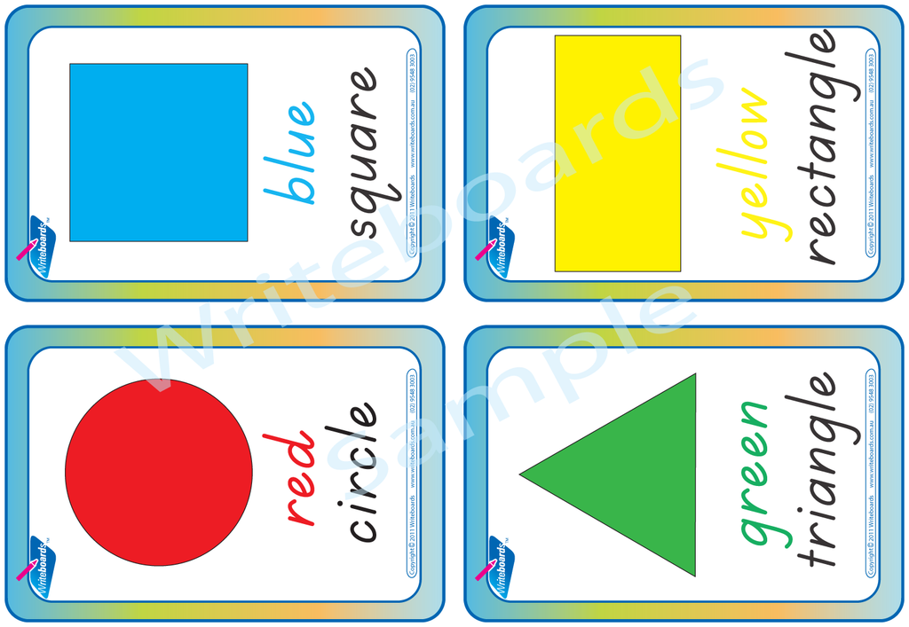 Downloadable and Printable TAS Beginner Font Shape and Colour Flashcards for Teachers and Schools.
