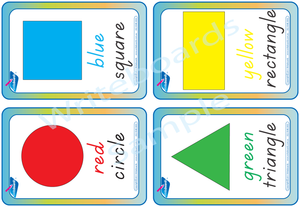 TAS Childcare and Kindergarten Resources, TAS Modern Cursive Font Shape and Colour flashcards