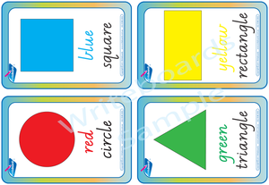 VIC Modern Cursive Font shape and colour shape and colour Flashcards. Great for Special Needs children.