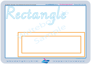 VIC and WA Childcare and Kindergarten Resources, VIC Modern Cursive Font Shape and Colour worksheets