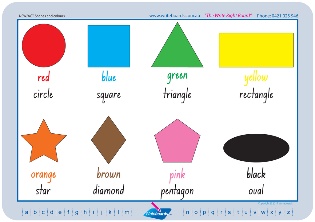 Downloadable and Printable NSW Foundation Font Shape and Colour Worksheets for Teachers and Schools.