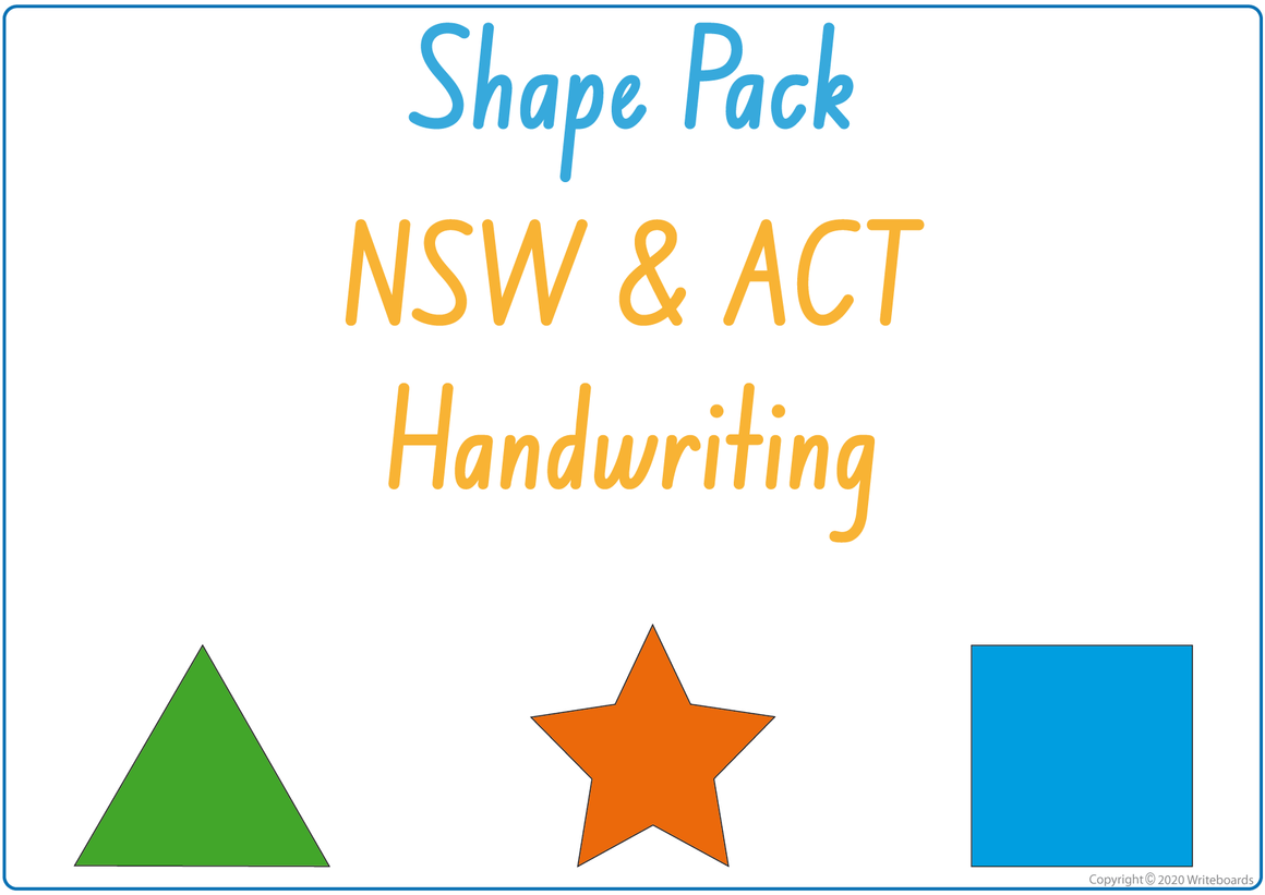 NSW Foundation Font - Learn about shapes and colour worksheets created by Writeboards