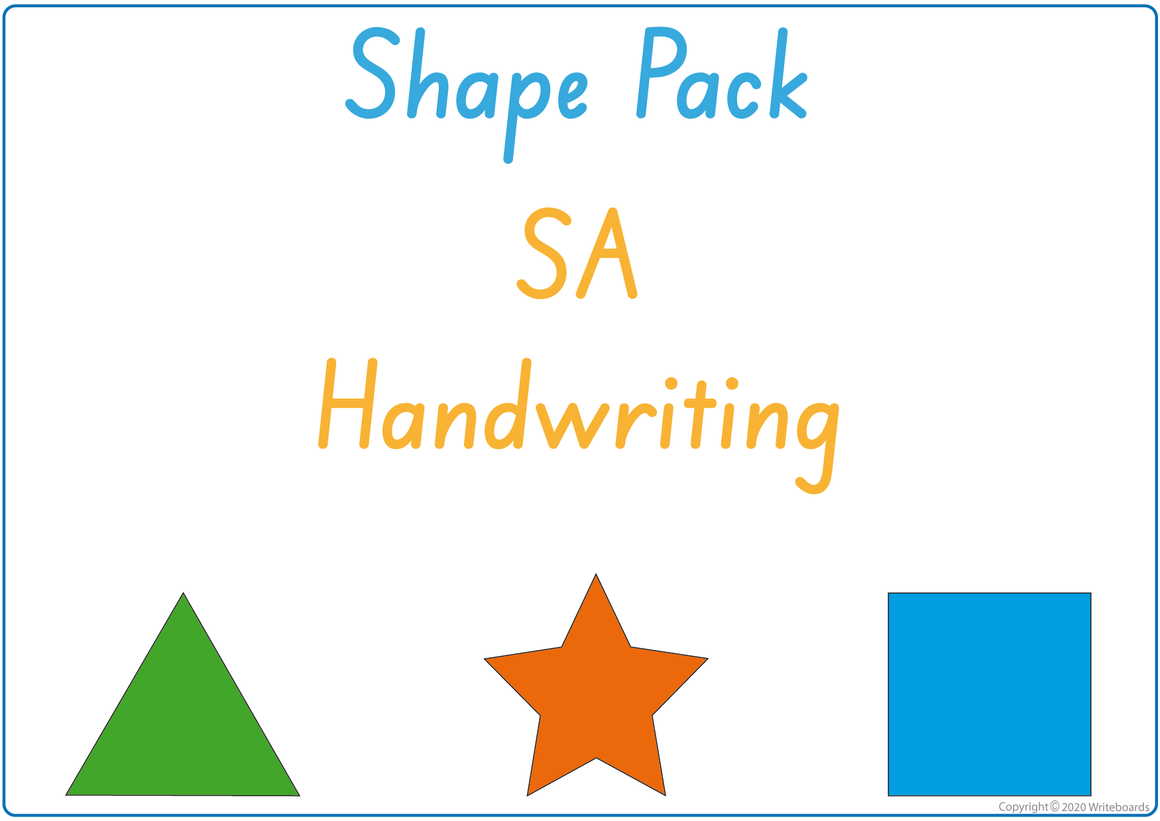 Busy Book Learn Your Shapes Pack for SA Handwriting, SA Beginner's Font Busy Pack