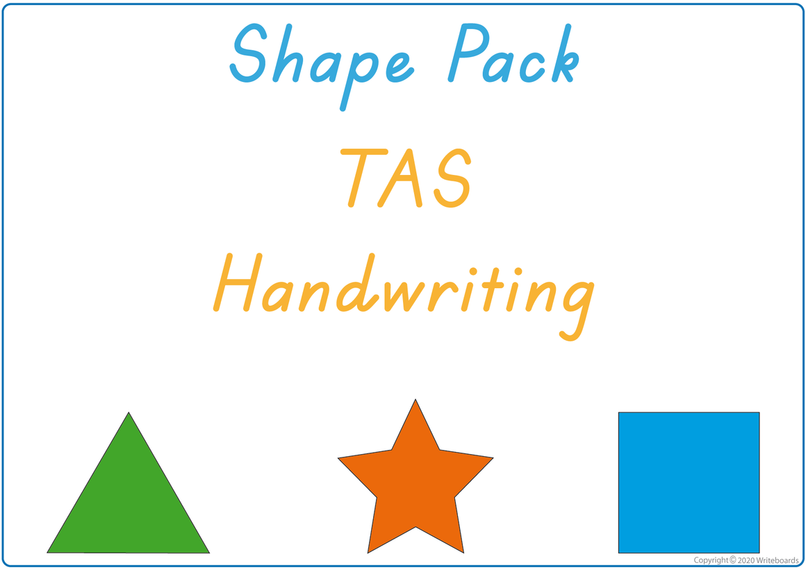 Busy Book Learn Your Shapes Pack for TAS Handwriting, TAS Beginner's Font Busy Pack
