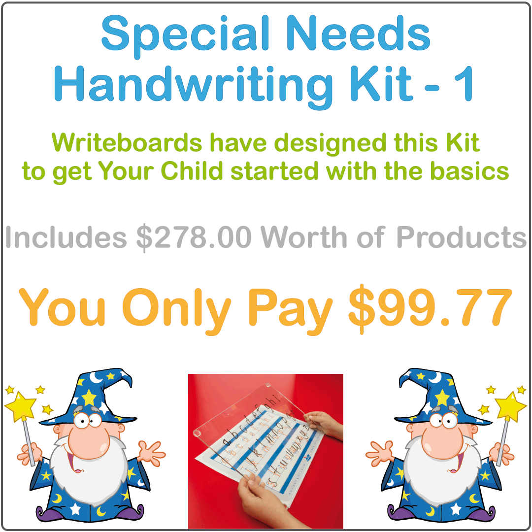 Special Needs Handwriting Kit One includes a Reusable Writing Board and Free Worksheets for Your Child
