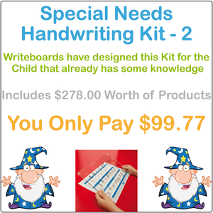 Special Needs Handwriting Kit Two includes a Reusable Writing Board and Free Worksheets for Your Child