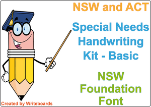 NSW Foundation Font Special Needs Handwriting Kit. Special needs worksheets for NSW and ACT.